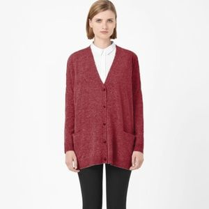 COS oversized heather maroon cardigan lambswool